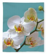 White Orchids On Ocean Blue Fleece Blanket