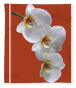 White Orchids On Terracotta Vdertical Fleece Blanket