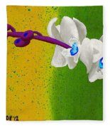 White Orchids On Yellow And Green Fleece Blanket