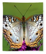 White Peacock Butterfly Fleece Blanket