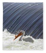 White Pelican Over The Dam Fleece Blanket