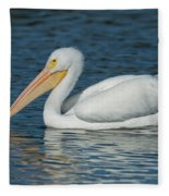 White Pelican Swimming Fleece Blanket