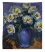 White Peonies Fleece Blanket