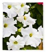 White Petunias Fleece Blanket
