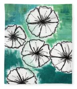 White Petunias- Floral Abstract Painting Fleece Blanket