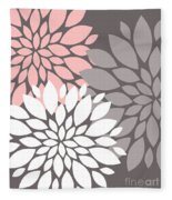 White Pink Gray Peony Flowers Fleece Blanket