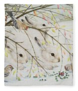 White Rabbits Fleece Blanket
