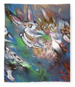 White Rabbits On The Run Fleece Blanket