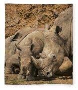 White Rhino 3 Fleece Blanket