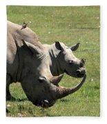 White Rhino Mother And Calf Fleece Blanket