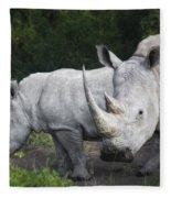 White Rhinos Fleece Blanket