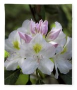 White Rhododendren Fleece Blanket