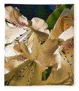 White Rhododendron Fleece Blanket