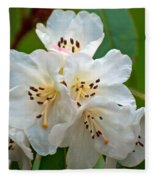 White Rhododendrons Fleece Blanket