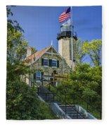 White River Lighthouse In Whitehall Michigan No.057 Fleece Blanket
