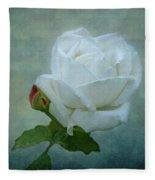 White Rose On Blue Fleece Blanket