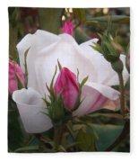 White Rose Pink Buds Fleece Blanket