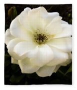 White Rose With Buds Fleece Blanket