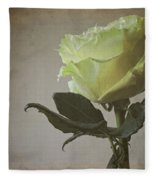 White Rose With Old Paper Texture Fleece Blanket
