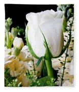 White Roses Close Up Fleece Blanket