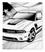 White Roush Mustang Fleece Blanket