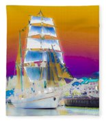 White Sails Ship And Colorful Background Fleece Blanket