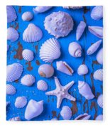 White Sea Shells On Blue Board Fleece Blanket
