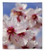 White Spring Almond Flowers Fleece Blanket