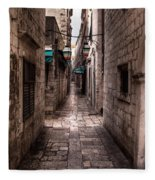 White Streets Of Dubrovnik No5 Fleece Blanket