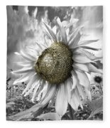 White Sunflower Fleece Blanket