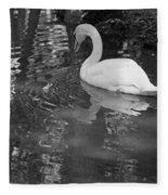 White Swan In Black And White II Fleece Blanket