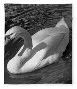 White Swan In Black And White Fleece Blanket