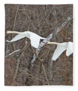 White Swans In Flight 1589 Fleece Blanket
