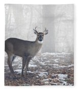 White Tailed Deer Buck In The Mist Fleece Blanket
