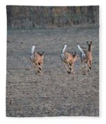 White Tailed Deer Running Fleece Blanket