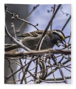 White-throated Sparrow With Berry Fleece Blanket