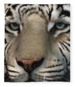White Tiger - Up Close And Personal Fleece Blanket