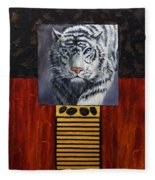 White Tiger Fleece Blanket