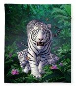 White Tigers Fleece Blanket