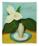 White Trillium Fleece Blanket