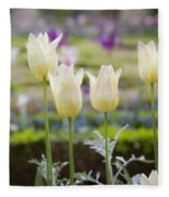 White Tulips In Parisian Garden Fleece Blanket