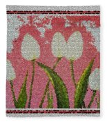 White Tulips On Pink In Stained Glass Fleece Blanket