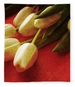 White Tulips Over Red Fleece Blanket