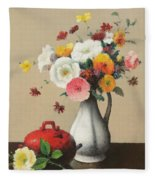 White Vase And Red Box Fleece Blanket