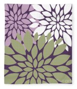 White Violet Green Peony Flowers Fleece Blanket