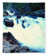 White Water On The Ohanapecosh River  Fleece Blanket