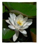 White Waterlily Lotus Fleece Blanket
