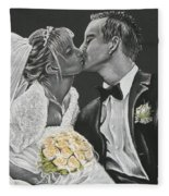 White Wedding Fleece Blanket