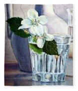 White White Jasmine  Fleece Blanket