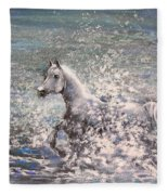 White Wild Horse Fleece Blanket
